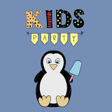 Kids Party vector lettering, party illustration with baby penguin Royalty Free Stock Photography
