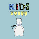 Kids Party vector lettering, party illustration with bear Stock Photo