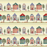 Kids patchwork seamless pattern with houses and trees Stock Photography