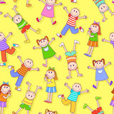 Kids pattern. Seamless pattern with many happy children Royalty Free Stock Images