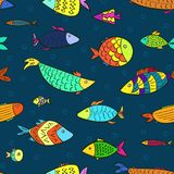 Kids pattern with cartoon fishes and air bubbles. Marine kids seamless pattern with colorful cartoon fishes and air bubbles in water. Stylized vector cute color Royalty Free Stock Photography