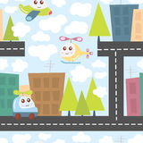 Kids pattern with city landscape, cute helicopter, airplane, and car. Baby texture.Vector Illustration. Stock Photography