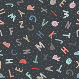 Kids pattern of letters in doodle style. Seamless background. Vector Royalty Free Stock Photos