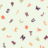 Kids pattern of letters in doodle style. Vector alphabet Stock Photography