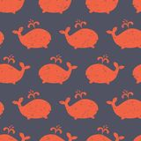 Kids pattern Whale shapes seamless vector. Cute background with distressed red whale silhouettes on blue. Baby shower design stock image