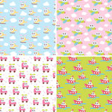 Kids patterns set with cute car, airplane, helicopter, ship. Flat texture collection. Perfect for baby fabric, wallpaper. Kids patterns set with cute car royalty free illustration