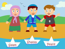 Kids for Peace. Illustration of three kids holding hands. They represent the three religion of the Bible (Judaism, Islam, Christianity) and the hope of a future Stock Photos