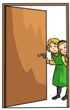 Kids peeking into door. Little girl and boy looking curiously into door Royalty Free Stock Photo