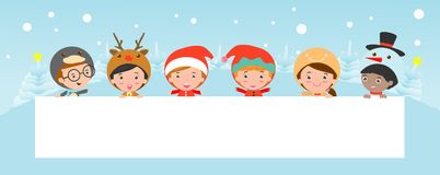 Kids peeping behind placard, children and greeting Christmas and New Year card, boy and girl in Christmas costume characters stock illustration