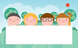 Kids peeping behind placard, Cute little children on background,Vector Illustration. Kids peeping behind placard, Cute little children on background,Vector Royalty Free Stock Photos