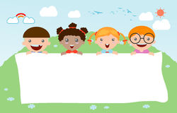 Kids peeping behind placard, happy children, Cute little kids on background. Vector Illustration Royalty Free Stock Photo