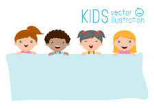 Kids peeping behind placard, happy children, Cute little kids on background Stock Photography