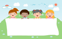 Kids peeping behind placard, happy children, Cute little kids on white background,Vector Stock Image