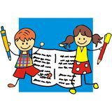 Kids and pencil. Vector icon. Boy and girl holds pen Royalty Free Stock Images
