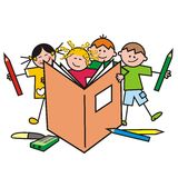 Kids and pencils. Happy kids and crayons. Humorous illustration Stock Photo