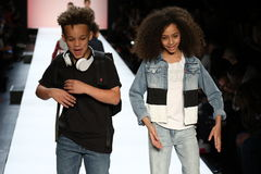 Kids perform on the runway during Rookie USA Presents Kids Rock! Fall 2016. NEW YORK, NY - FEBRUARY 11: Kids perform on the runway during Rookie USA Presents Stock Photo