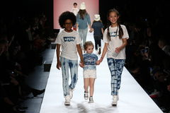 Kids perform on the runway during Rookie USA Presents Kids Rock! Fall 2016. NEW YORK, NY - FEBRUARY 11: Kids perform on the runway during Rookie USA Presents Royalty Free Stock Image