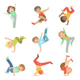 Kids Performing Modern Dance Set Royalty Free Stock Photography