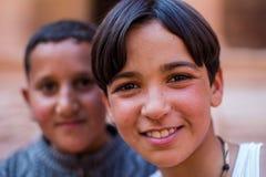 Kids Petra Jordan. Boys in Petra the lost city in Jordan Stock Images