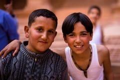 Kids Petra Jordan. Boys in Petra the lost city in Jordan Stock Photos