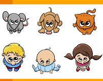 Kids and pets cartoon set Royalty Free Stock Photo