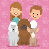 Kids with pets characters. Vector illustration design Stock Photos