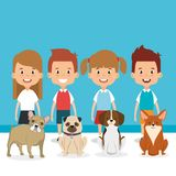 Kids with pets characters. Vector illustration design Stock Photo