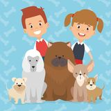 Kids with pets characters. Vector illustration design Royalty Free Stock Image