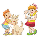 Kids and pets. Royalty Free Stock Photos