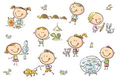 Kids and Pets. Happy cartoon sketchy kids with different pets like a puppy, a cat, a lizard, a parrot and others. No gradients used, easy to print and edit Royalty Free Stock Photo