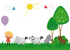 Kids and pets royalty free illustration