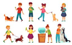 Kids with pets. Kid hug pet, child love animals and playing with dog or cute cat cartoon vector illustration set. Kids with pets. Kid hug pet, child love animals vector illustration