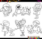 Kids and pets set coloring page Royalty Free Stock Photo