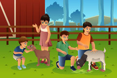 Kids in a Petting Zoo. A vector illustration of happy kids petting animals together in a petting zoo stock illustration
