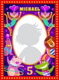 Kids photo frame with cartoon circus artists stock illustration