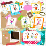 Kids and photo frames. Happy kids and photo frames Stock Images