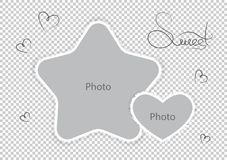 Kids photo frames template amazing montages favorite photos. Vector illustration stock illustration