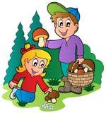 Kids picking up mushrooms. Illustration vector illustration