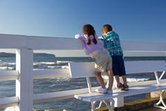Kids on the pier Royalty Free Stock Photo
