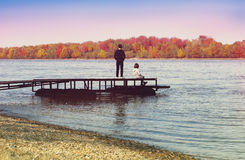 Kids on the pier Royalty Free Stock Images