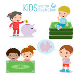Kids and piggy bank, Childrens savings, illustration of isolated Childrens saving money on white background, Royalty Free Stock Photo