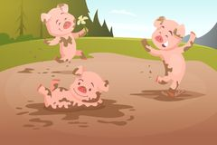 Kids pigs playing in dirty puddle stock illustration