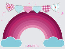 Kids pink rainbow and bunting background Stock Images