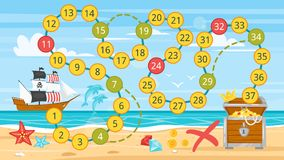 Kids pirate board game template. Vector cartoon style illustration of kids pirate board game template. Pirate boat near sea shore. For print. Horizontal Stock Photos