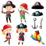 Kids in pirate costume and parrot pet Stock Image