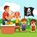 Kids pirate face painting party in kindergarten Royalty Free Stock Photos