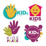 Kids place with entertainments bright promotional emblems set isolated cartoon flat vector illustration on white. Kids club with entertainments bright Royalty Free Stock Photography