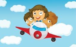 Kids on a plane Royalty Free Stock Photos