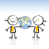 Kids planet. Two happy children holding the planet cartoon illustration Stock Image