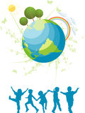 Kids and planet. Friendly green planet for all the children Royalty Free Stock Photography